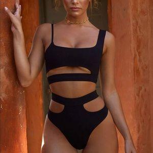 Nasty Gal Black Cutout High Leg Bikini Swimsuit